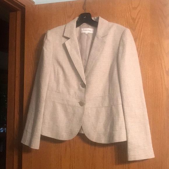 Calvin Klein Jackets & Blazers - Calvin Klein taupe and white tweed spring blazer